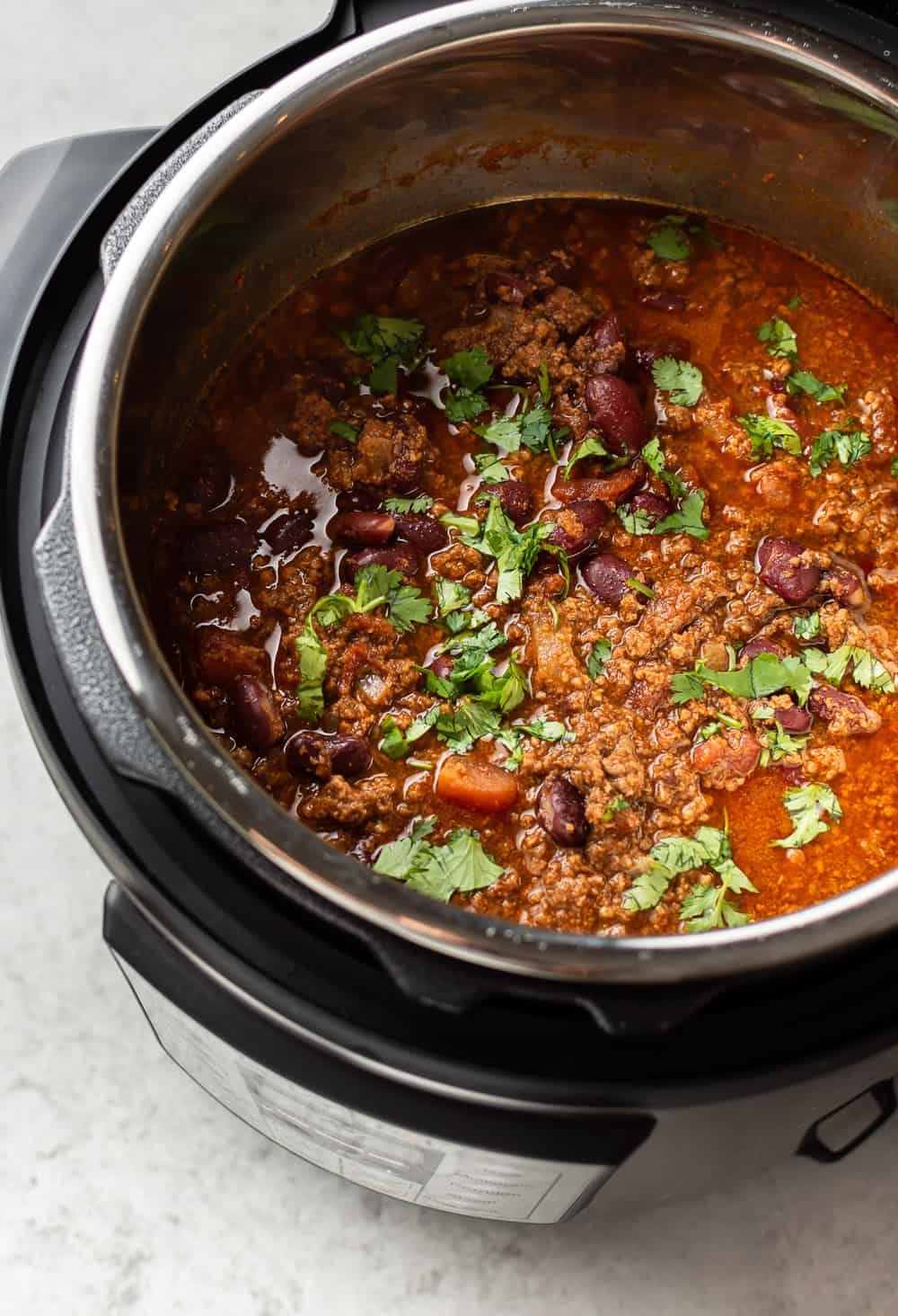 close-up of beef chili in an Instant Pot