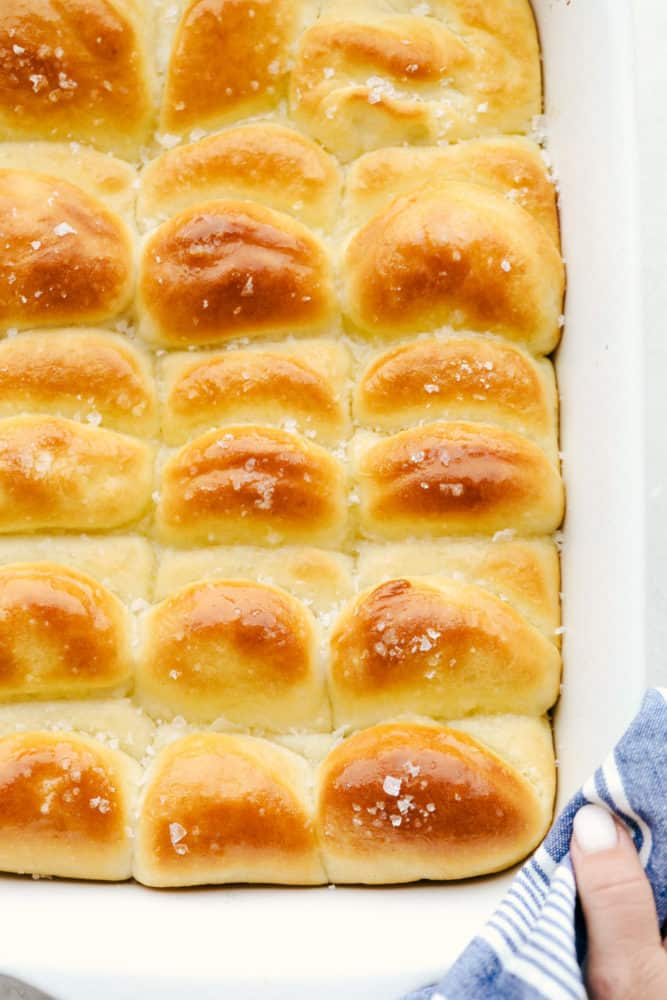 Baked parker house rolls in a pan.