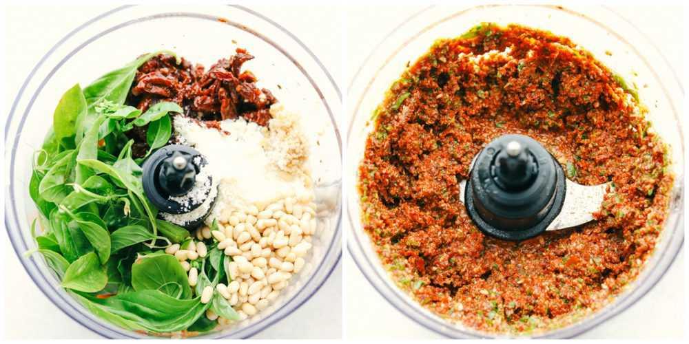 Preparar o molho pesto de tomate seco ao sol no processador de alimentos.