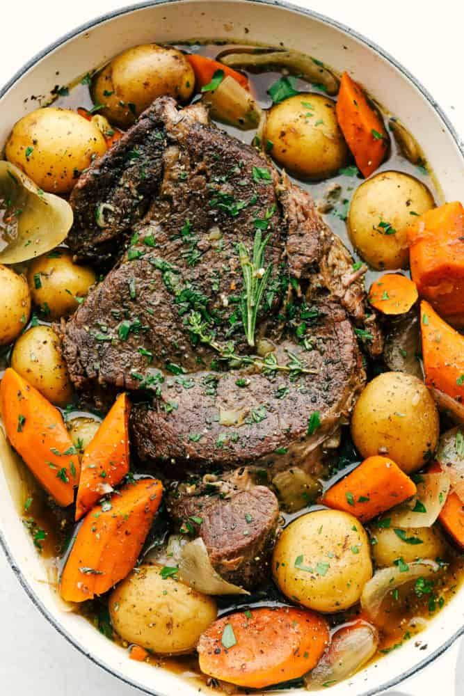 Melt in you mouth pot roast with tender carrots and potatoes