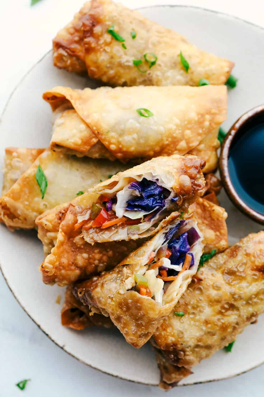 Vegetable Egg Rolls, crispy colorful crunchy veggies fried to perfection.