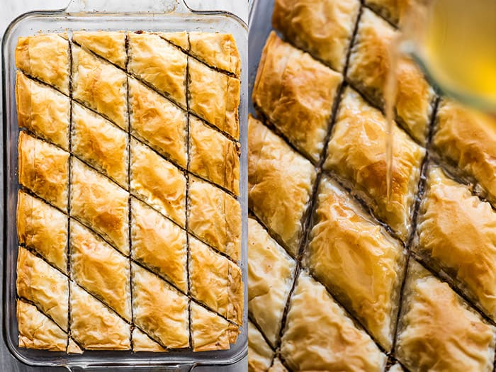Step 3 in making baklava: baking it and pouring the syrup over the top.