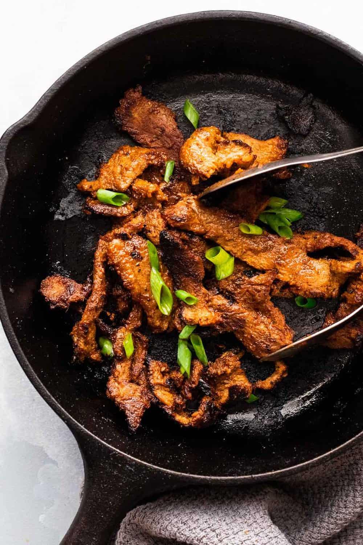 Korean Beef Bulgogi on a grill pan
