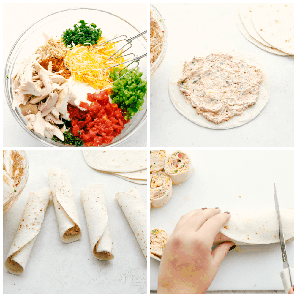 The process of making Mexican pinwheels.