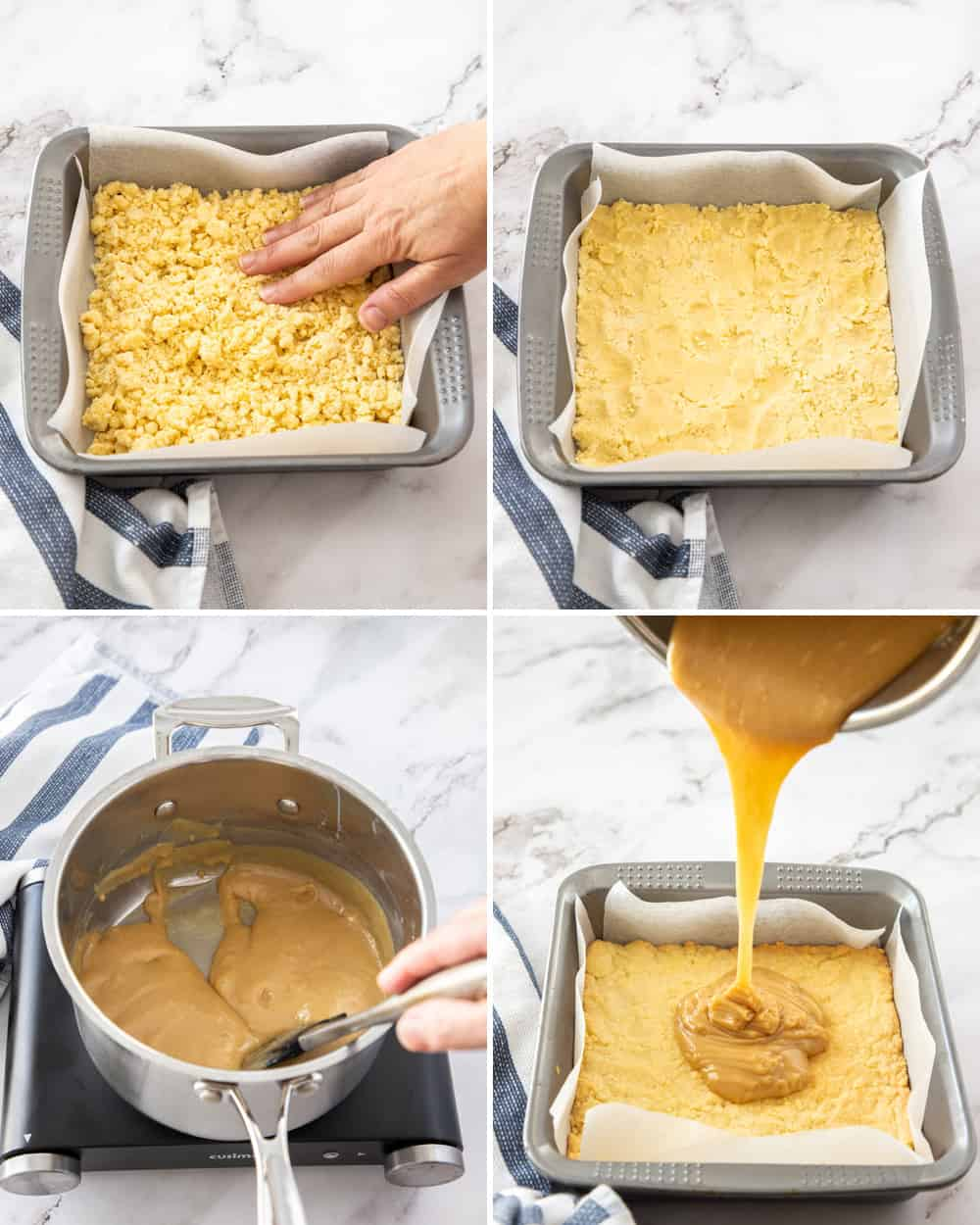 Collage of 4 images showing the base and caramel being added to baking tin