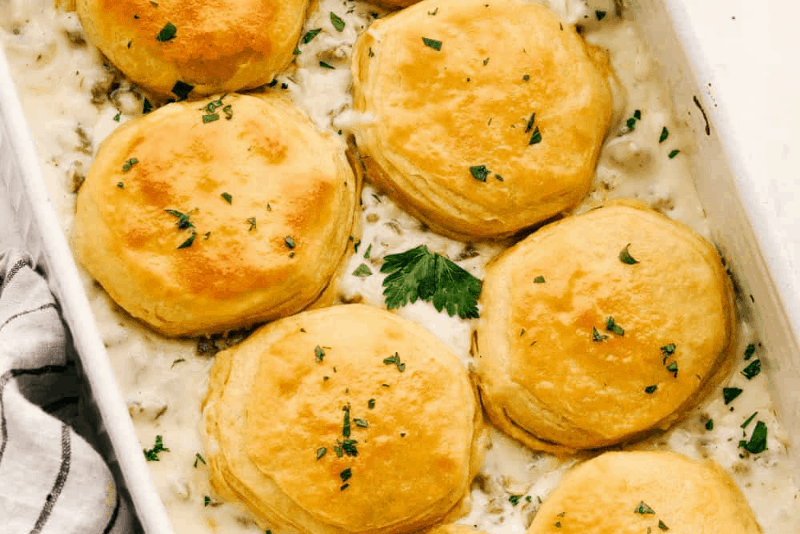 Super Easy Sausage and Biscuit Casserole