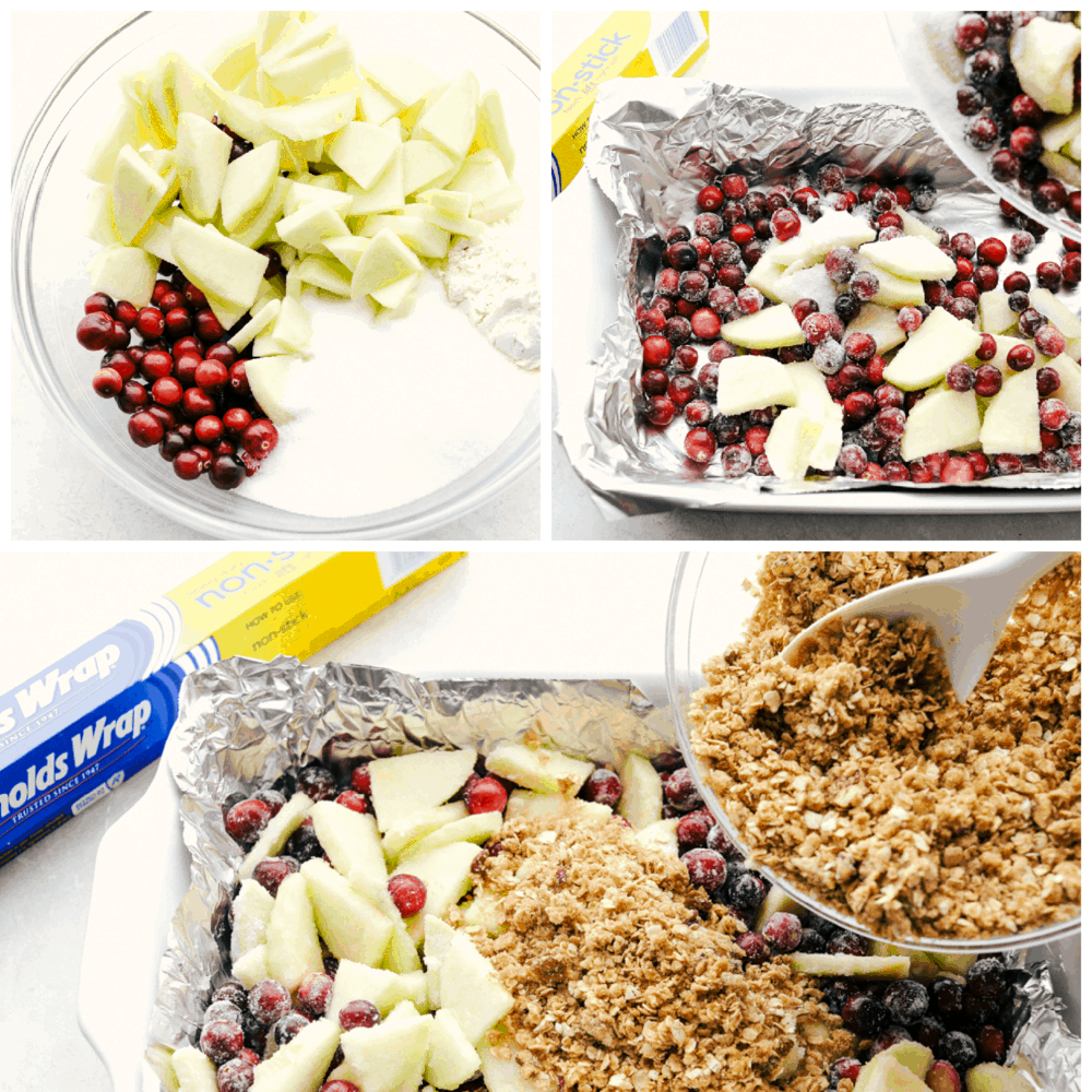 The process shots of making cranberry apple crisp in three photos.