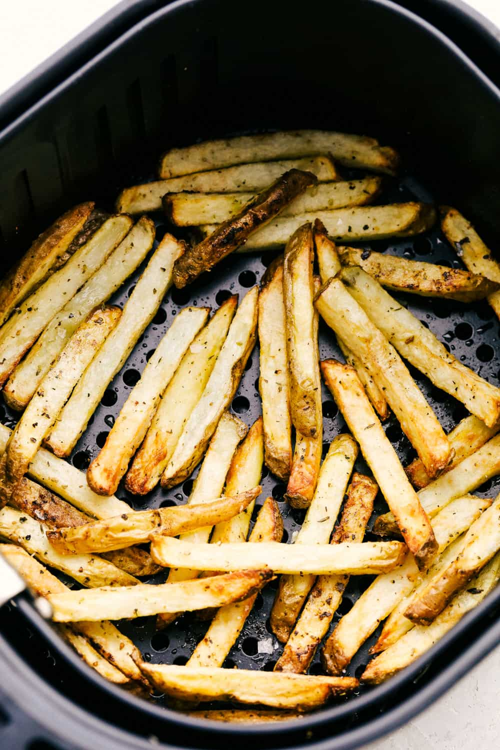 Crispy outside, tender inside amazing air fryer french fries.
