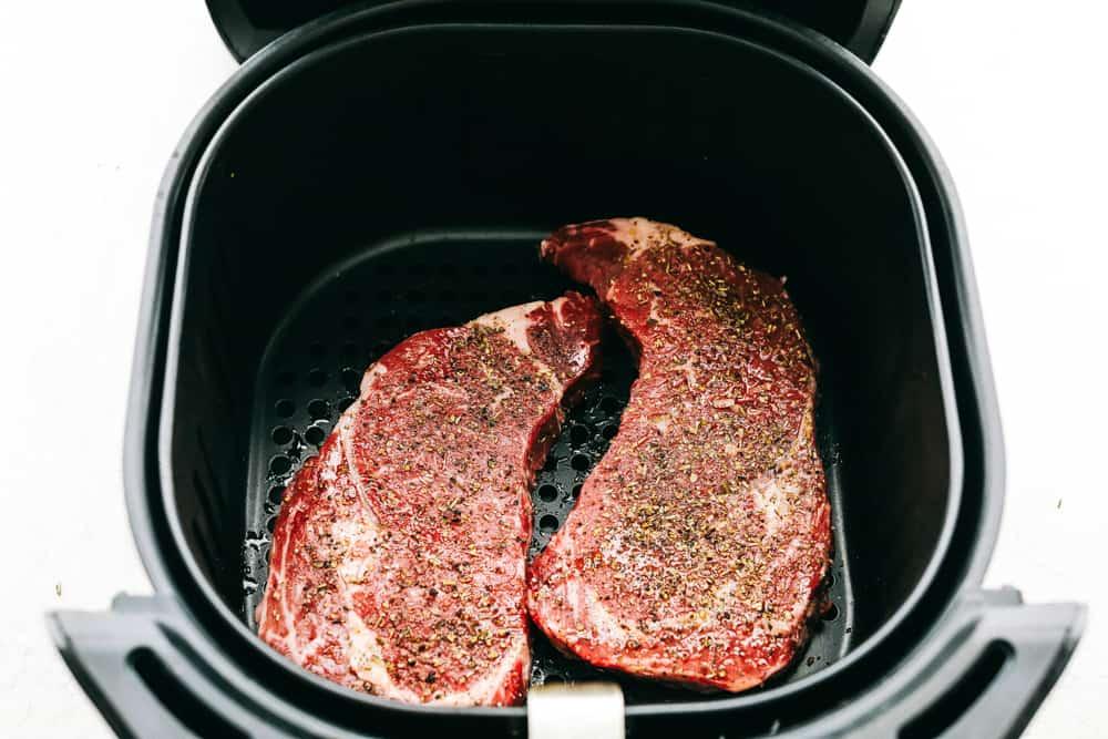 Seasoned steak in Air Fryer