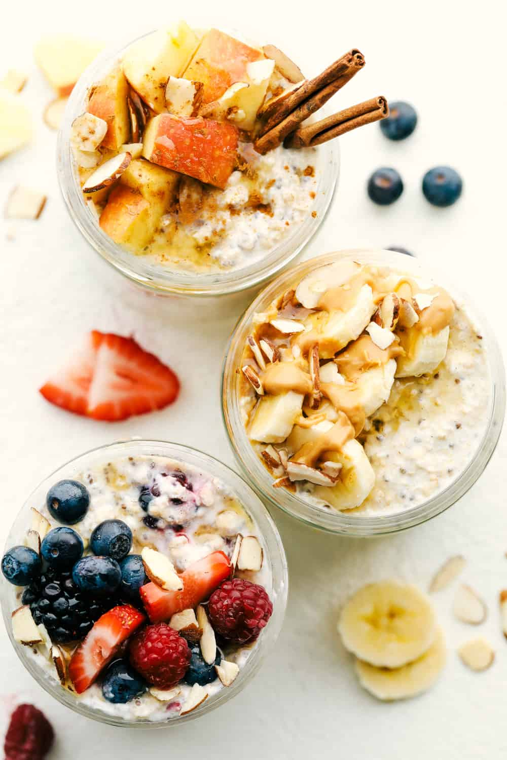 Overnight oats with different toppings and flavor combinations.