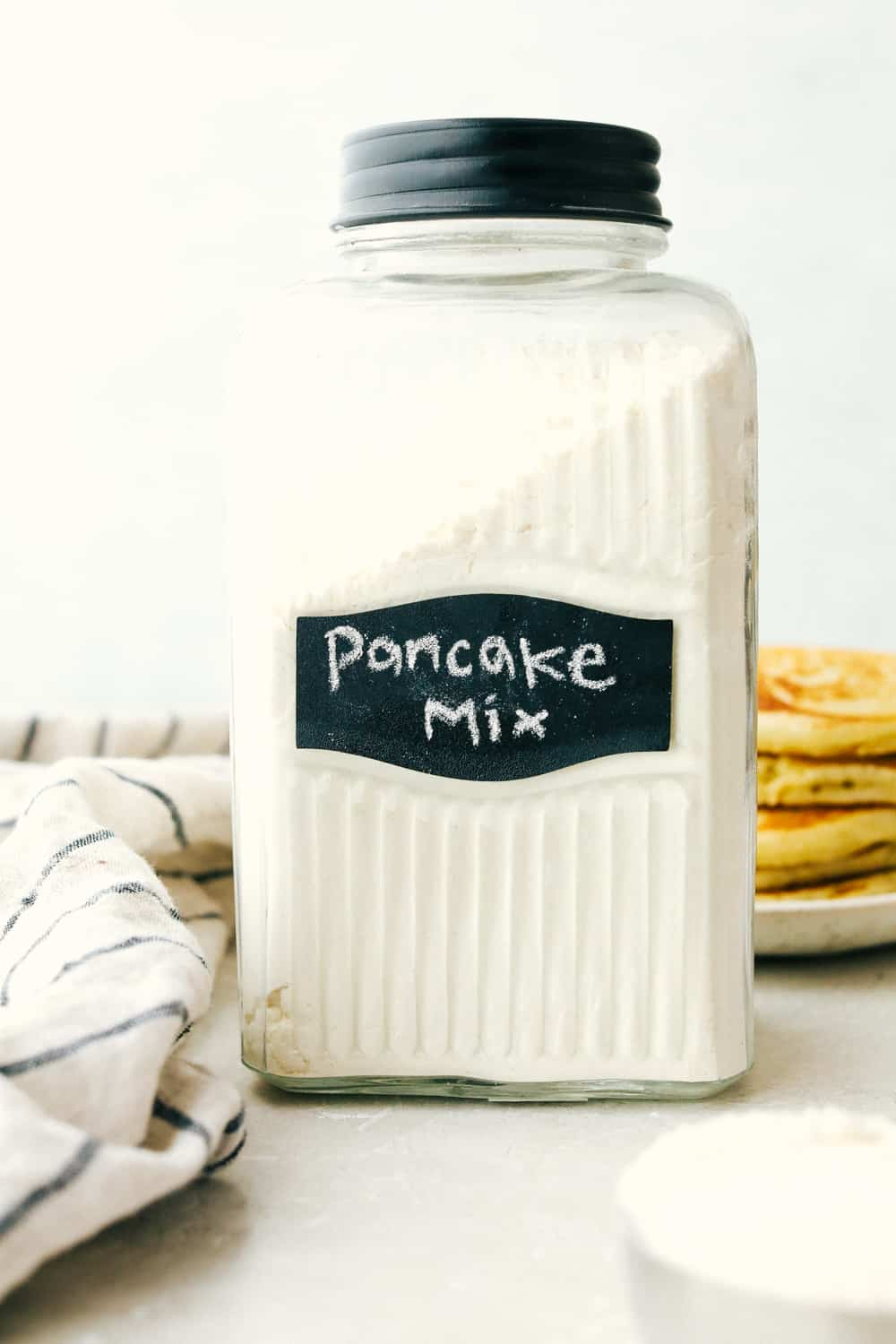 Homemade pancake mix in a jar.