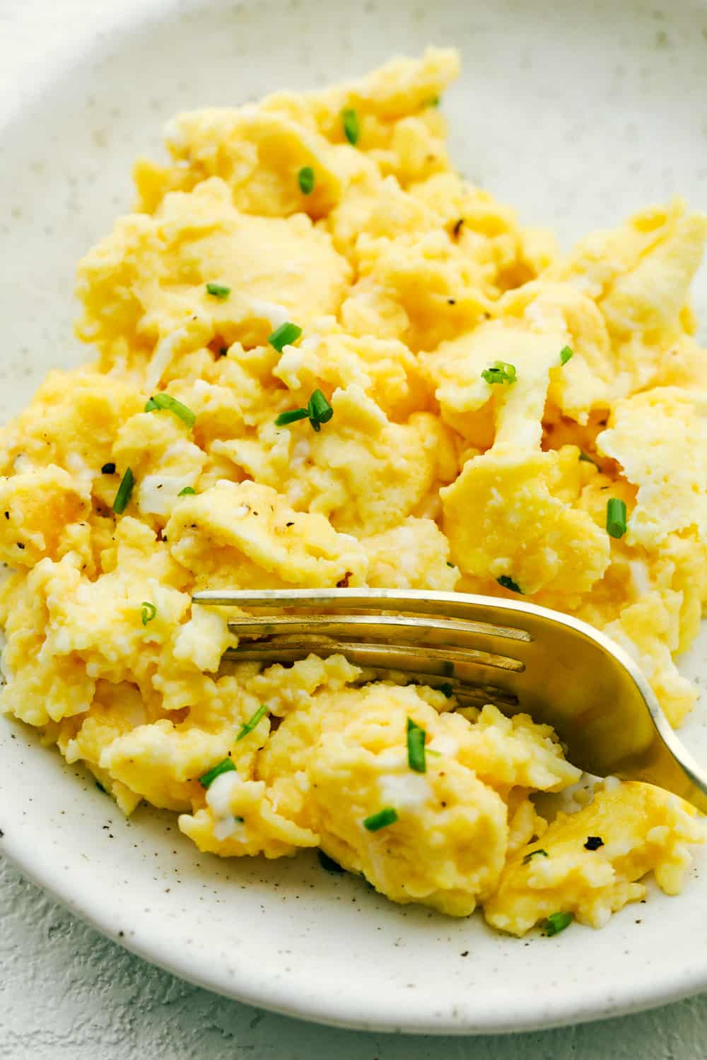 Perfectly soft, fluffy and light scrambled eggs.