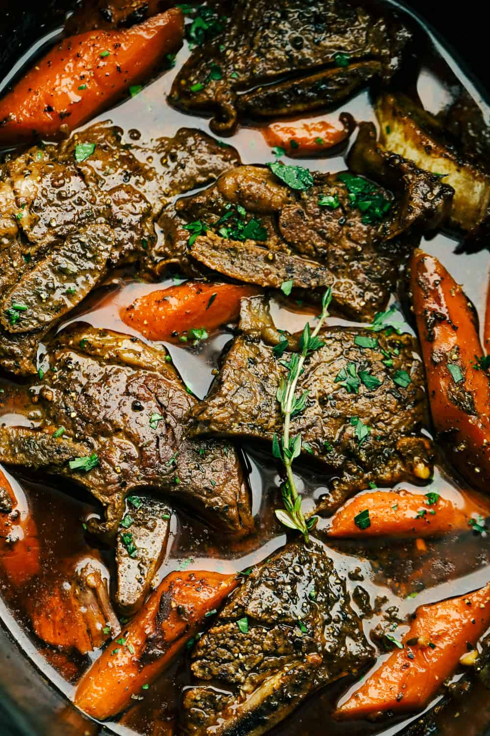 Tender, juicy flavorful Slow Cooker Short Ribs with carrots