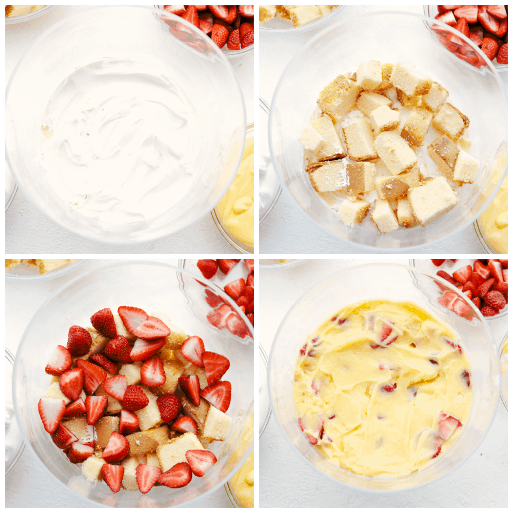 Process of making and layering the trifle.