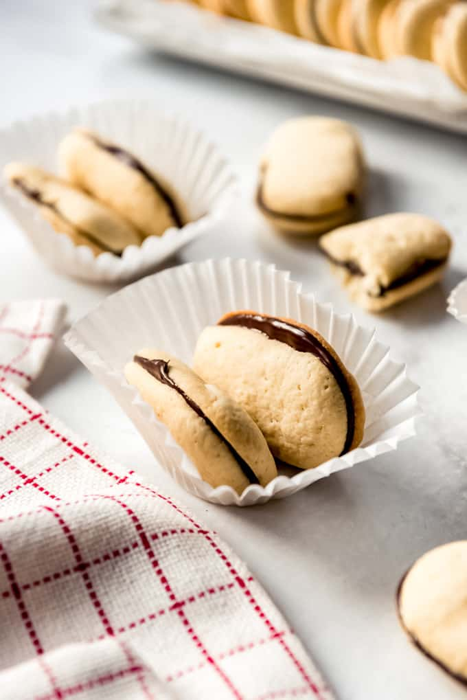 Milano cookies in a paper dish.