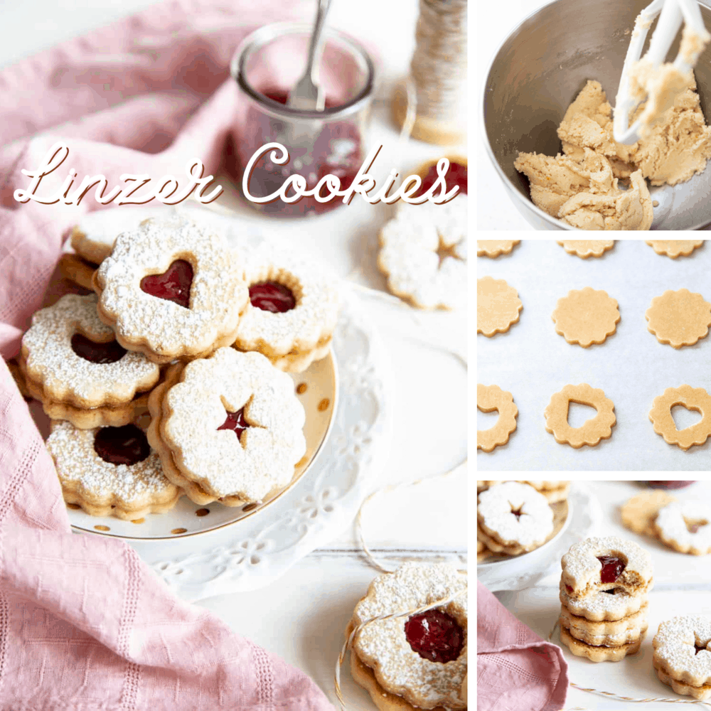 Linzer Cookies in a collage.
