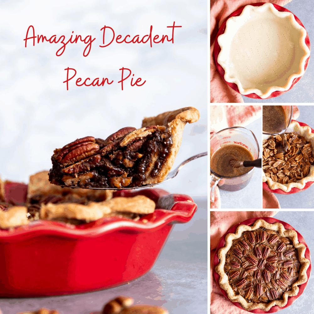 A Collage of steps to make pecan pie.
