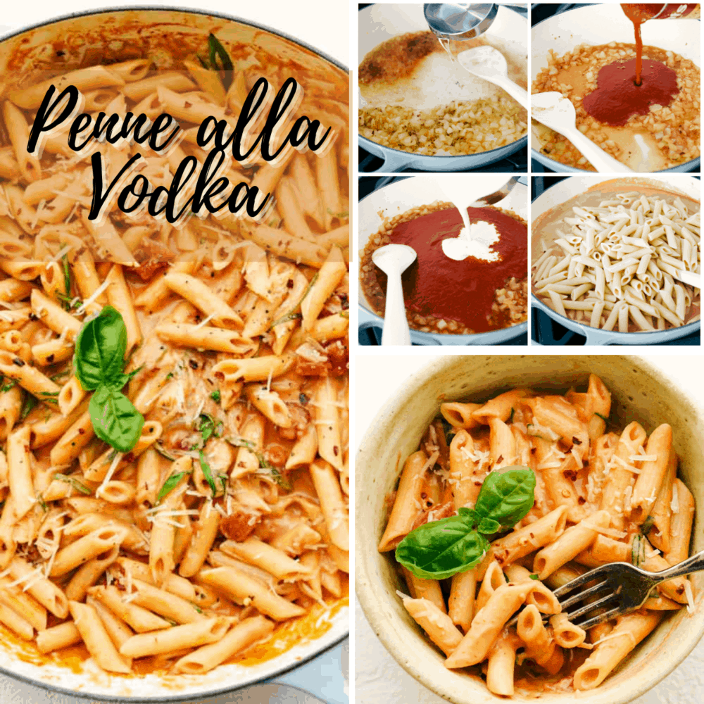 A collage of the steps to make penne alla vodka.