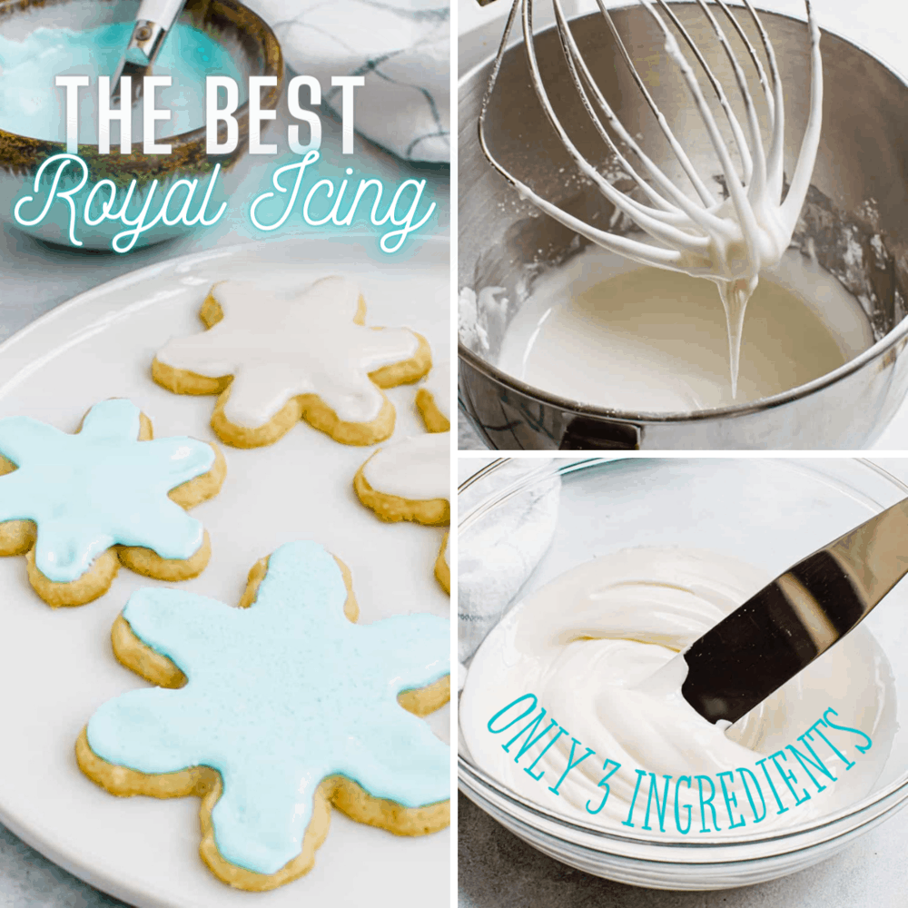 Collage of royal icing being made.