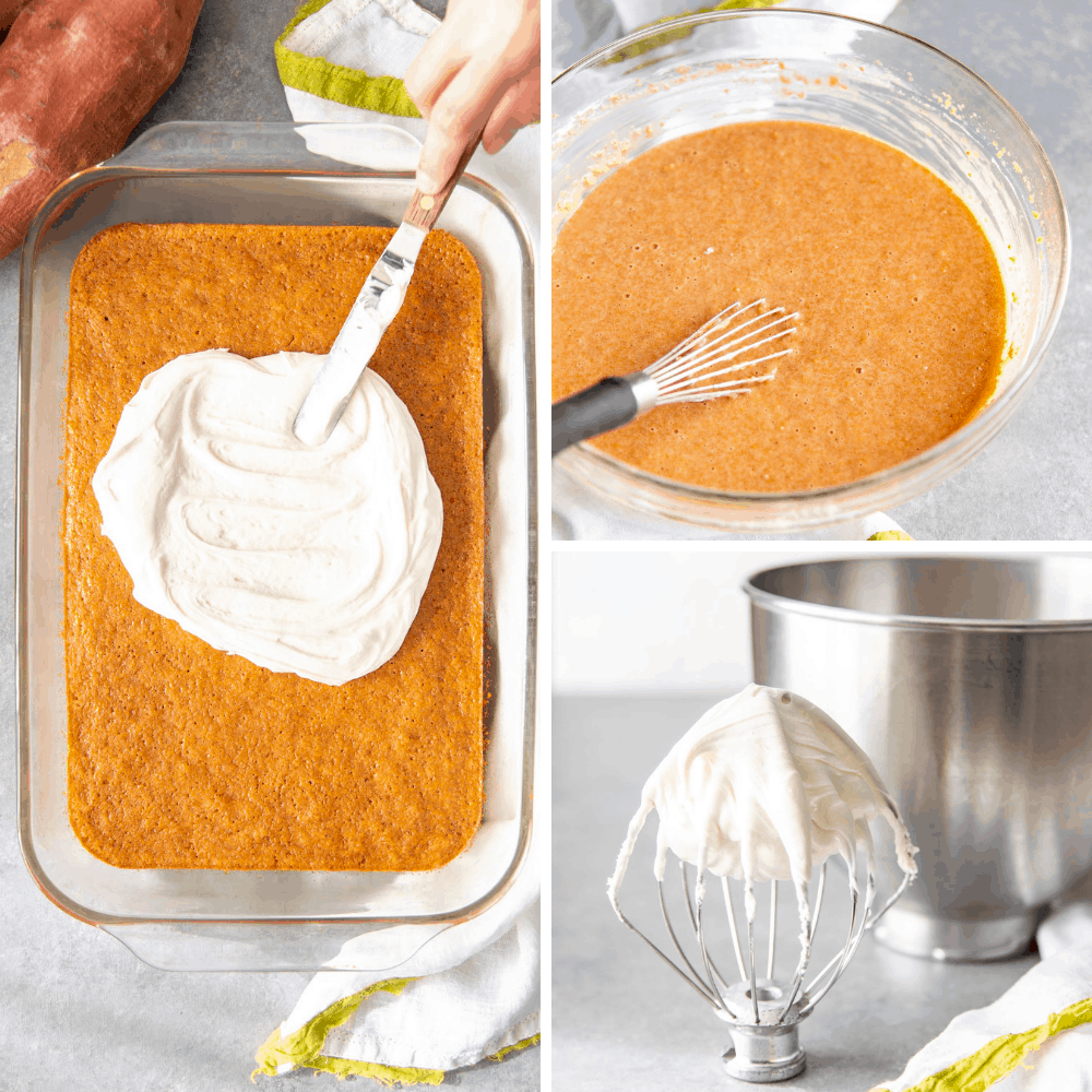 Collage of the steps to make sweet potato cake.