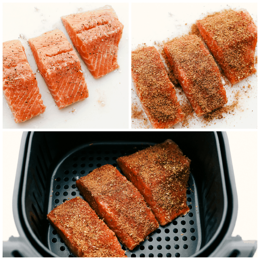 Seasoning, air fryer brown sugar and garlic salmon.