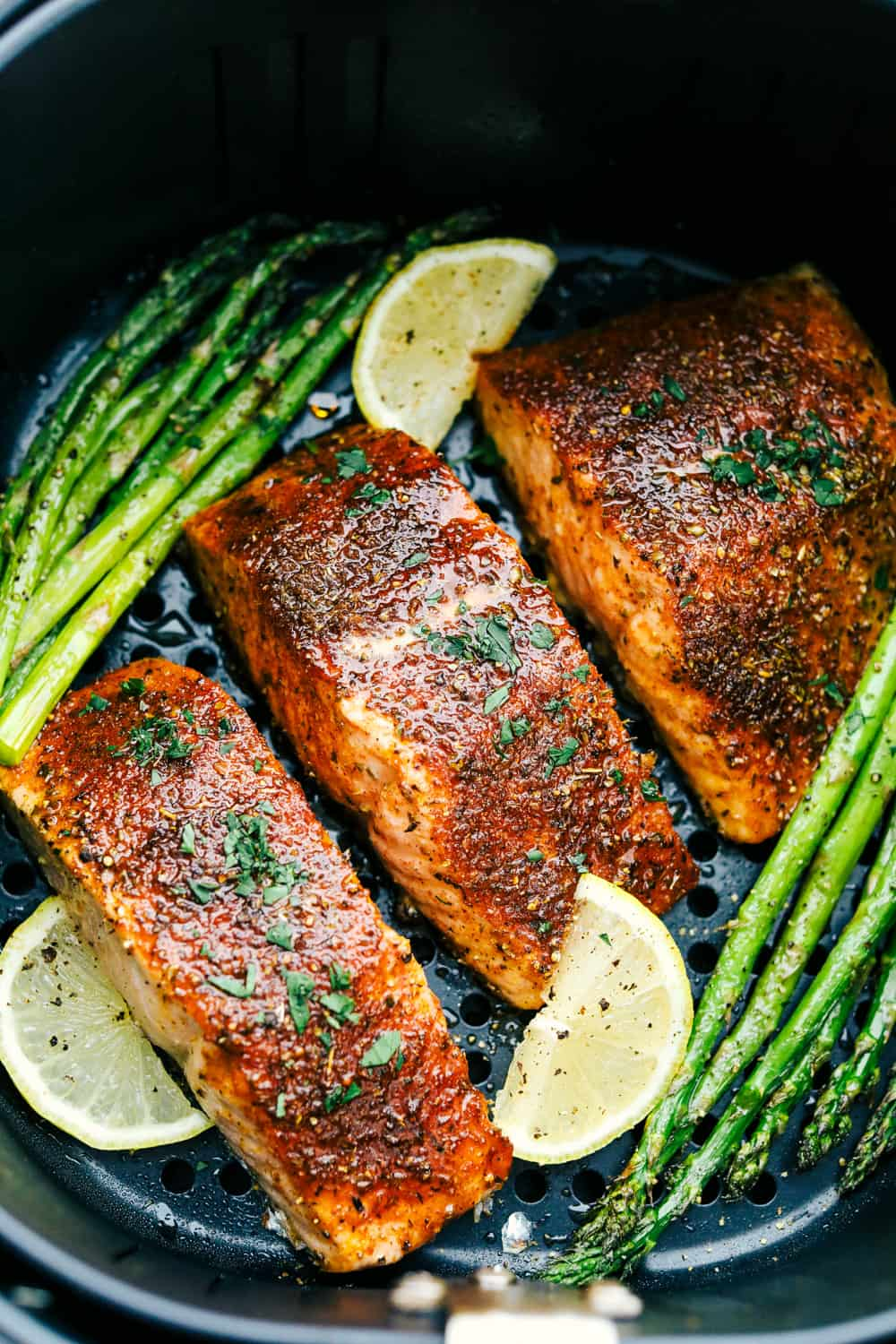 Juicy, tender brown sugar garlic air fryer salmon.
