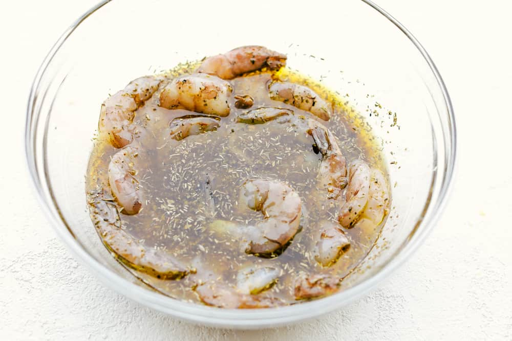 Shrimp in marinade.
