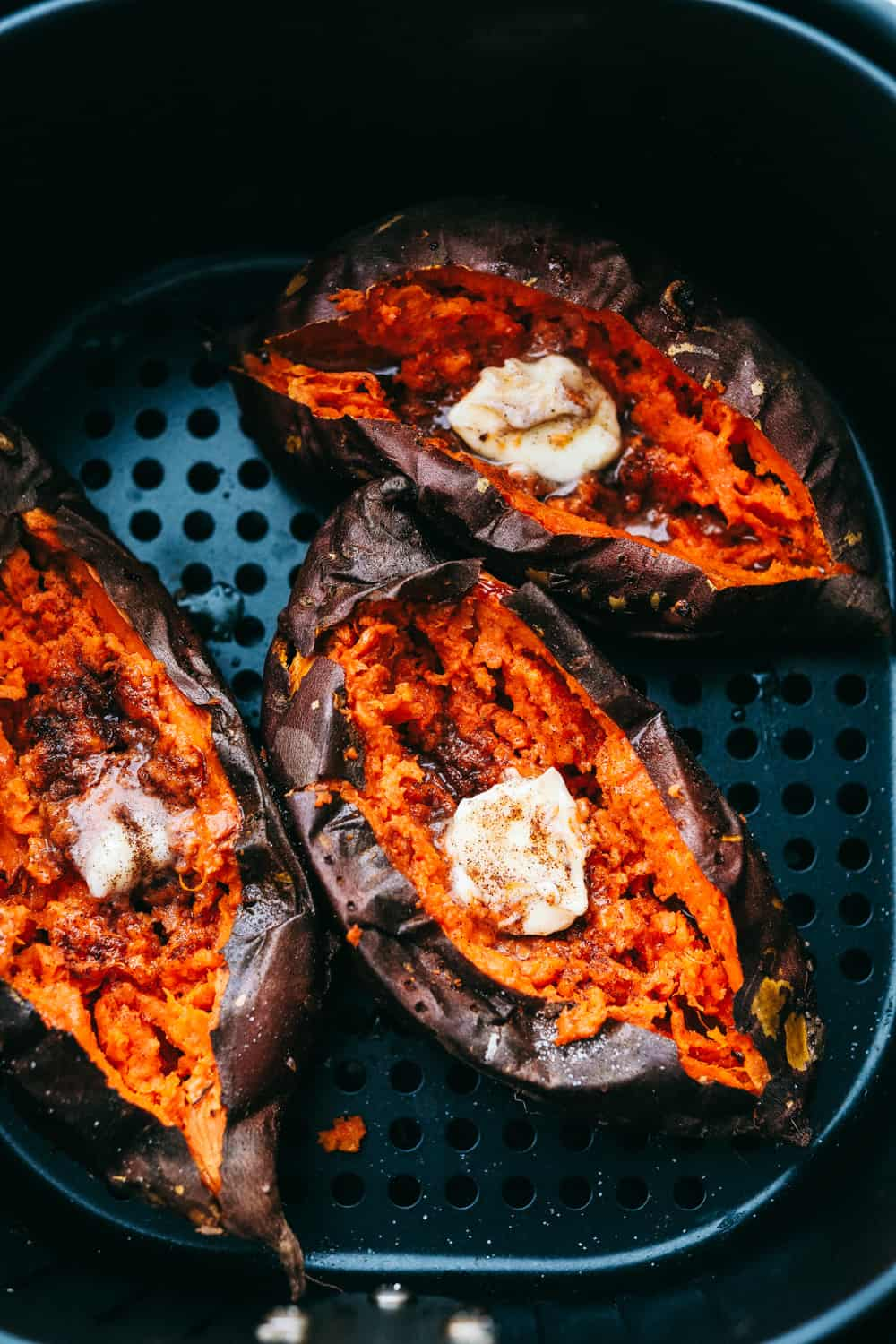 Perfectly roasted Air Fryer Sweet Potatoes.