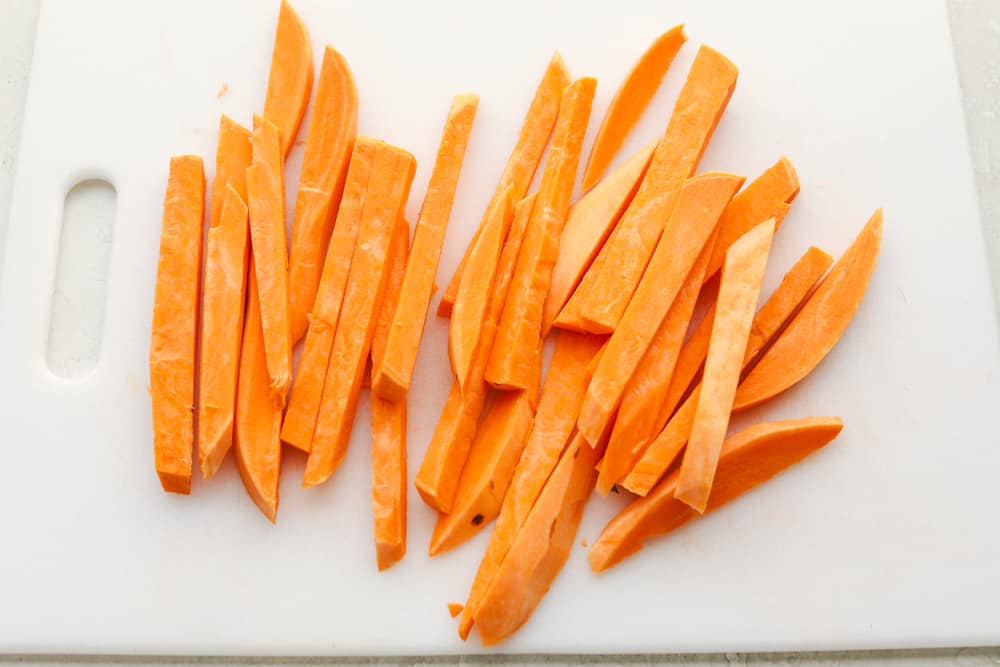 Sweet potato peeled and cut into sticks.