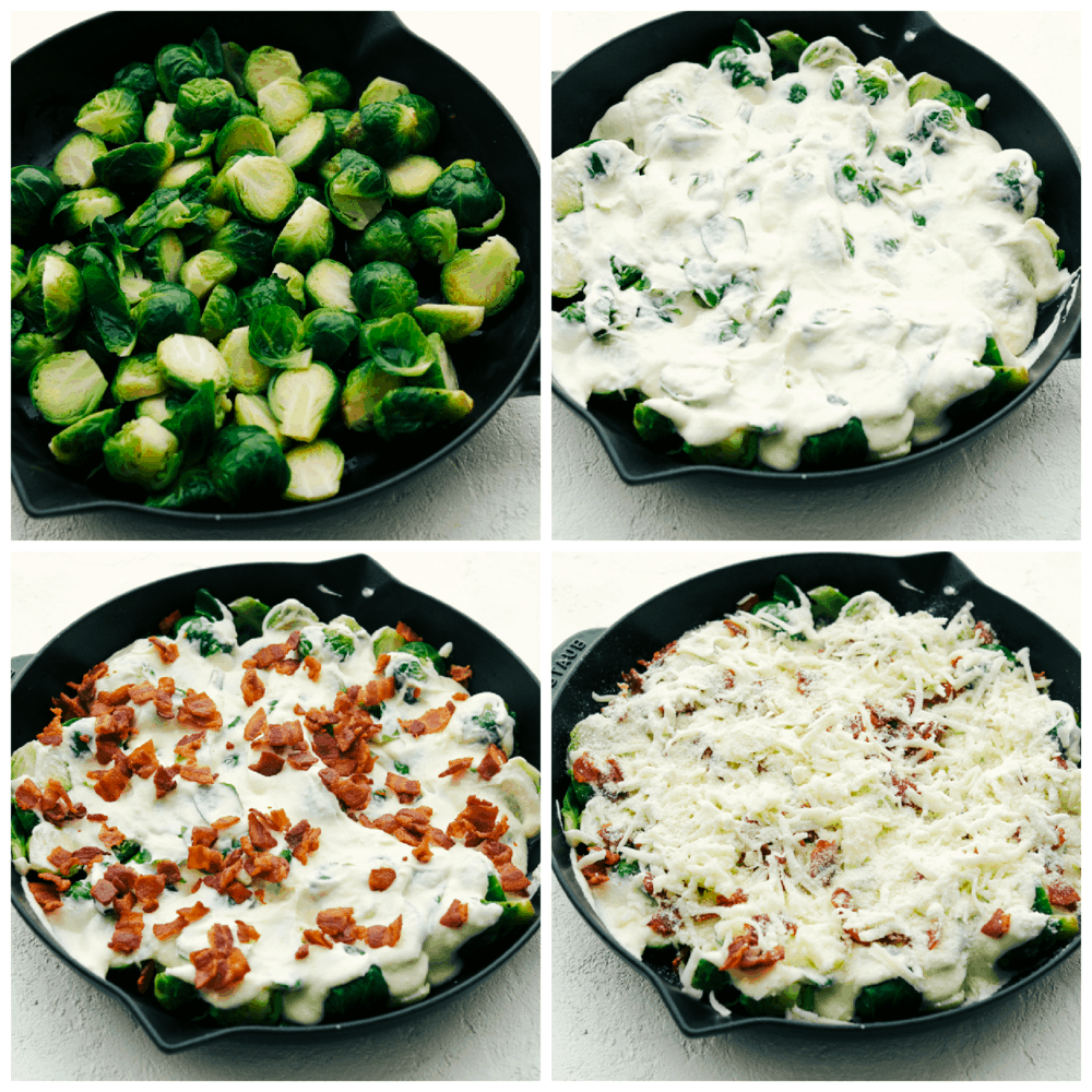 Layering brussels sprouts, cheese sauce, bacon and cheese in a cast iron skillet.