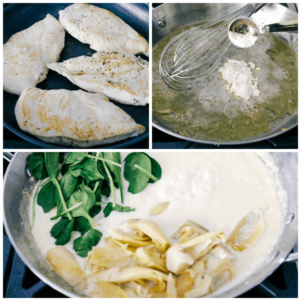 sauteing chicken, making cream sauce and adding spinach and artichokes.