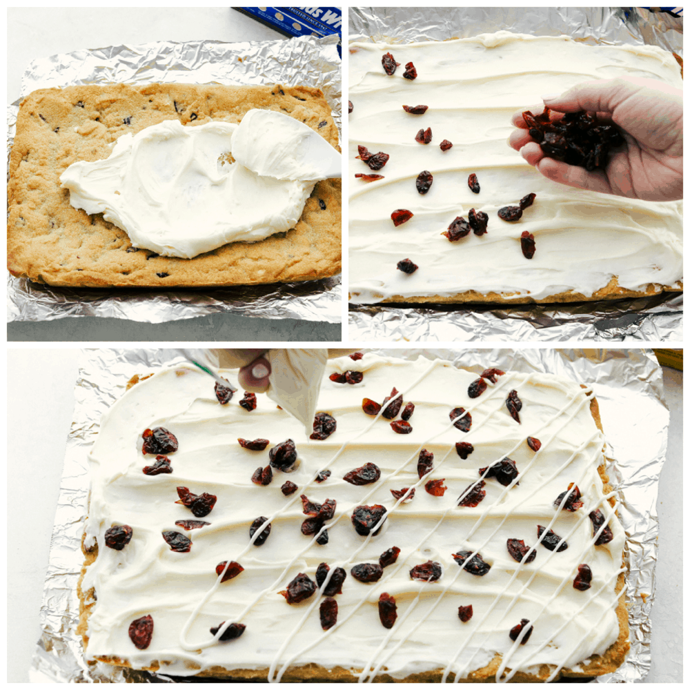 A collage of how to make the cranberry bliss bars.