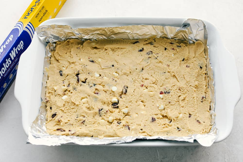 The dough is in the baking dish.