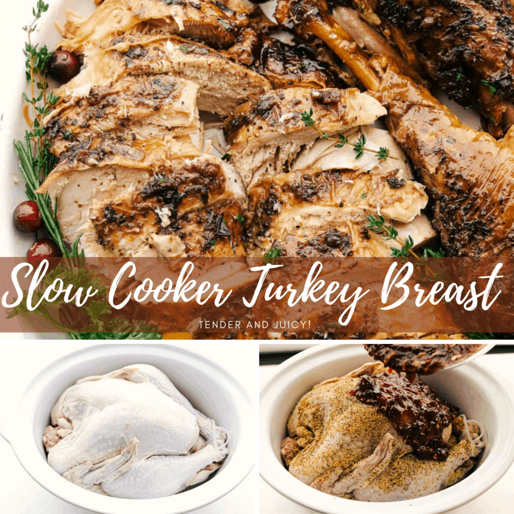 Collage of slow cooker turkey breast photos.