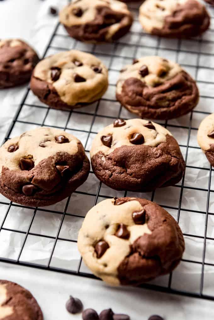 brookies cookies on a wire rack