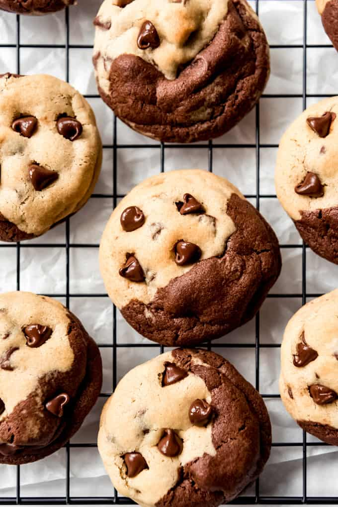 Brookies cookies with chocolate chips on top.
