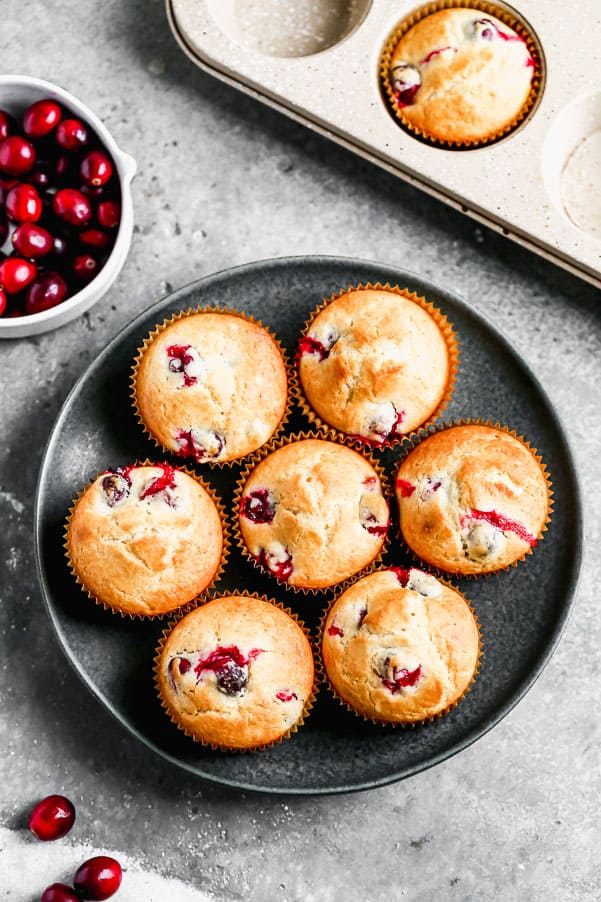 Cranberry muffins on a plate.