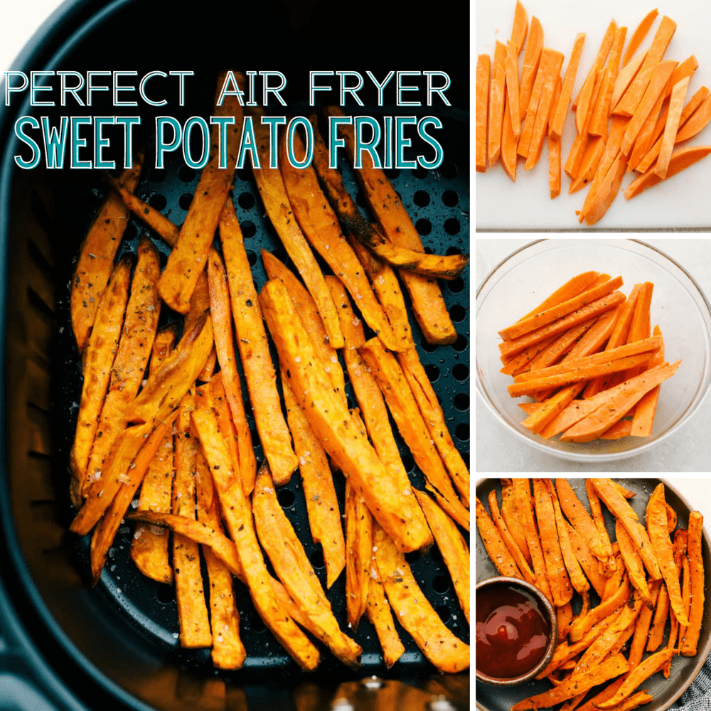Collage of the process making sweet potato fries.