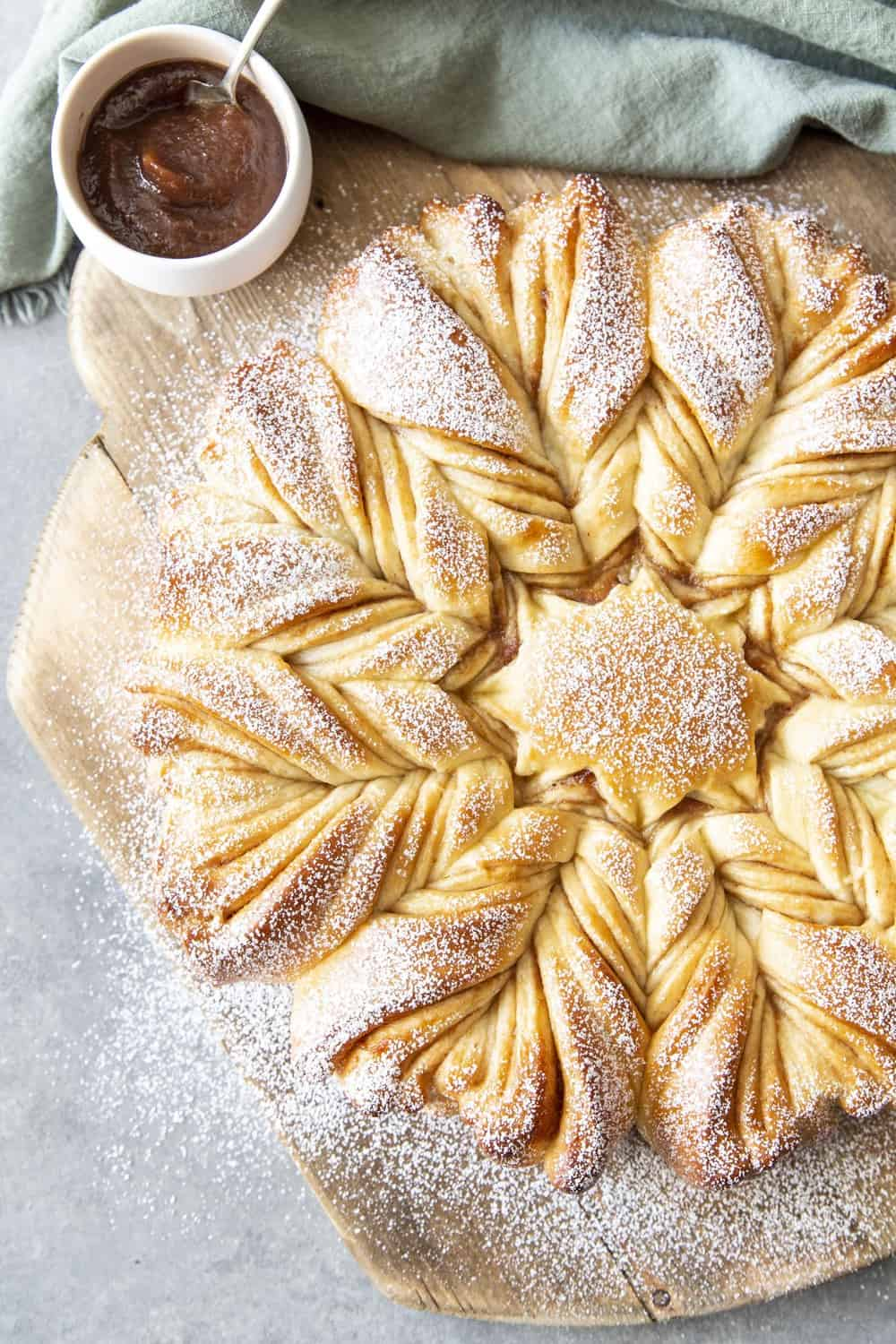 Dusted with powder sugar, star bread.