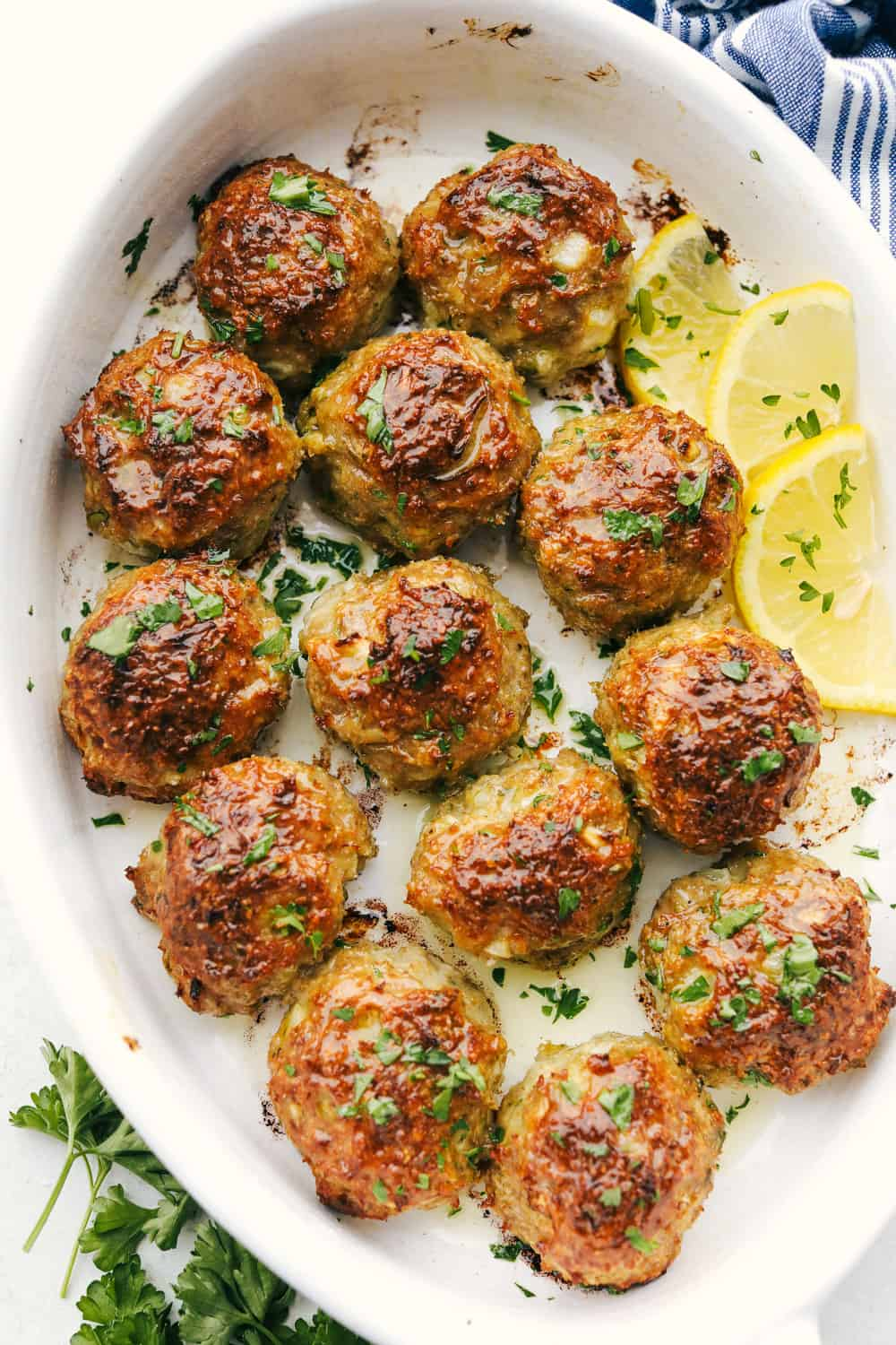 Delicious Baked Turkey Meatballs in a white dish.