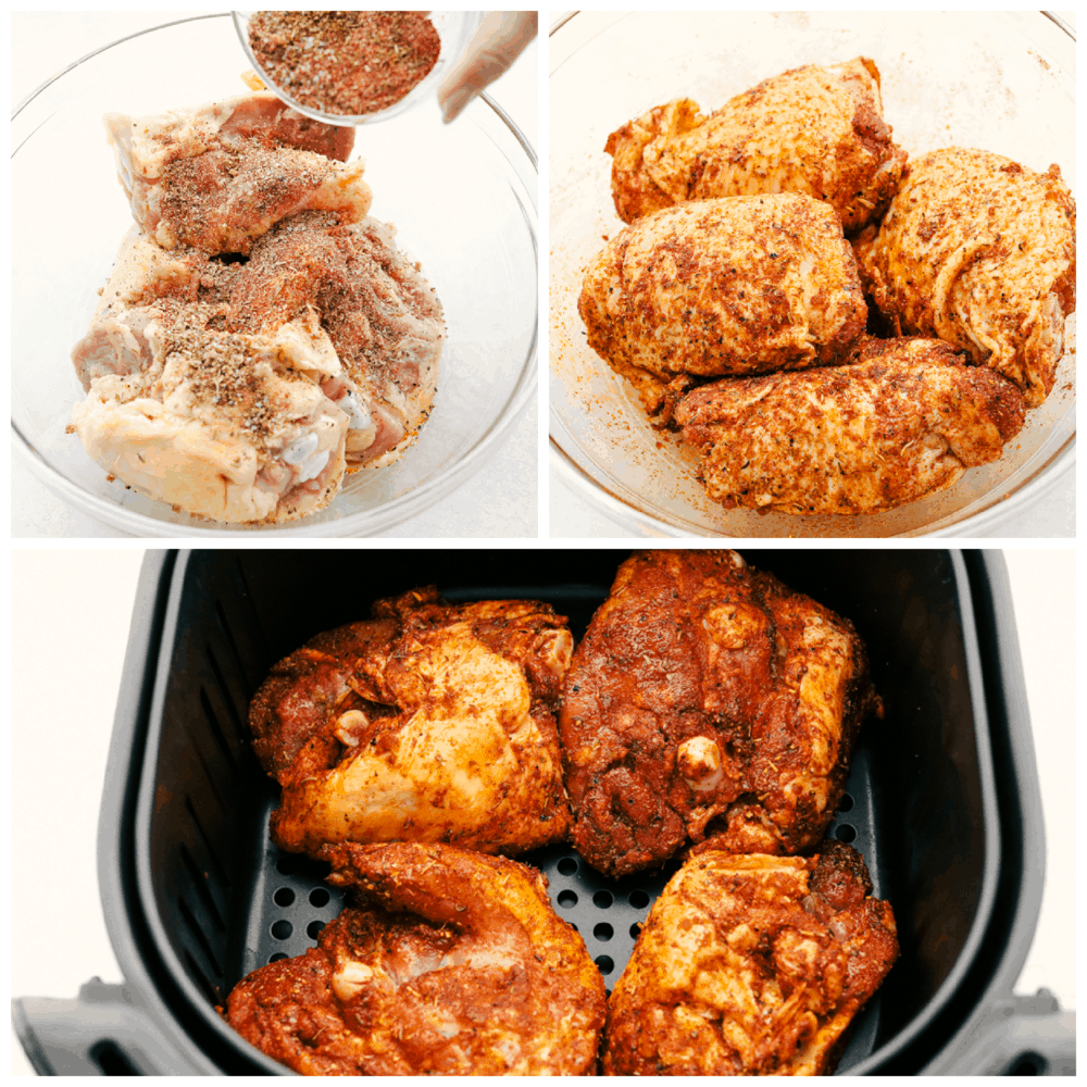 Seasoning and placing the chicken in an air fryer.