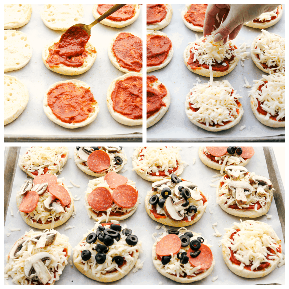 Assembling English muffin pizzas with various toppings.