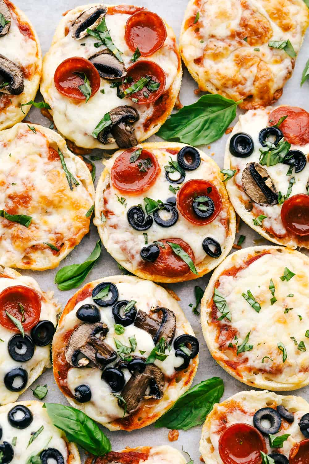 English Muffin Pizzas with various toppings.