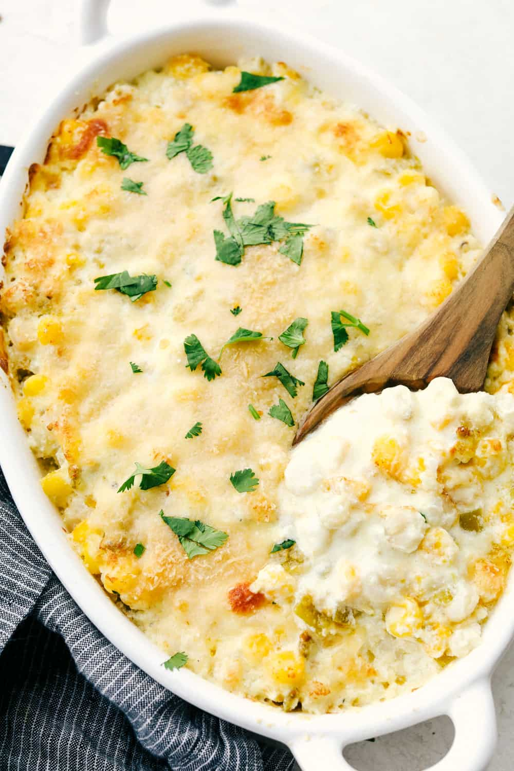 Creamy Hominy Casserole in a white dish.