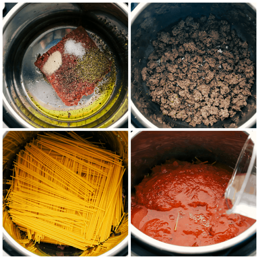 Browning, seasoning and cooking spaghetti in the instant pot.