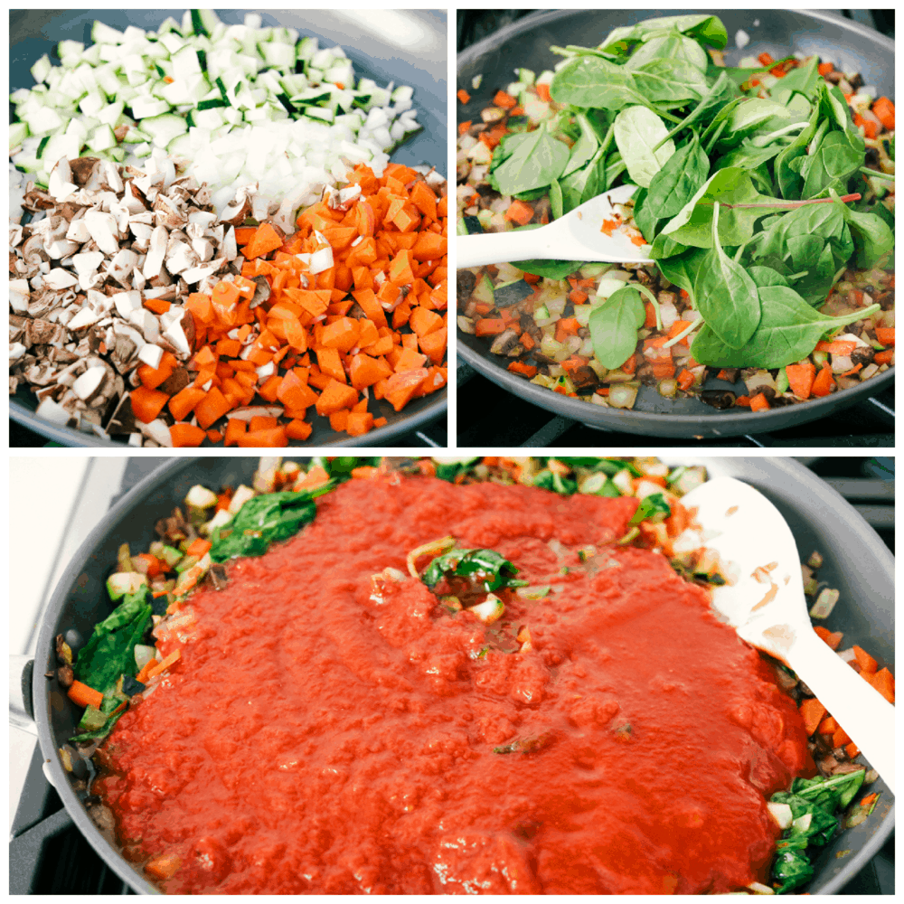 Sauteing vegetables for the vegetable lasagna.