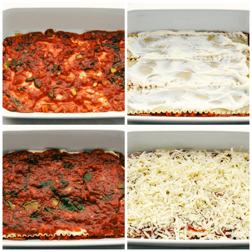 Layering sauce, noodles, cheese for vegetable lasagna.