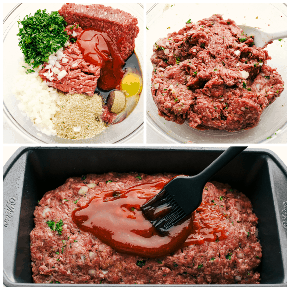 A collage of meatloaf in three photos.