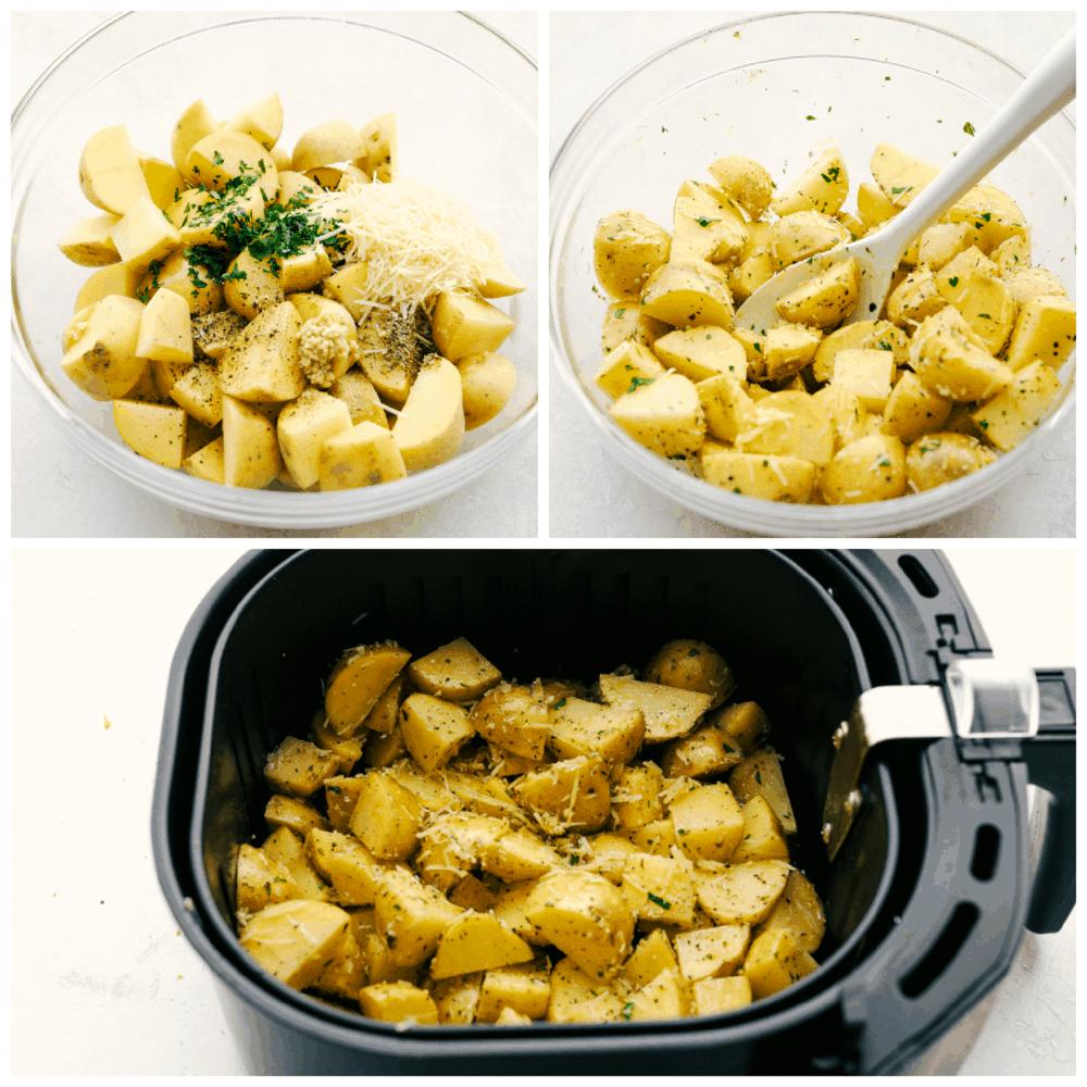 Misturando o tempero nas batatas da fritadeira de ar preparando-se para assar.