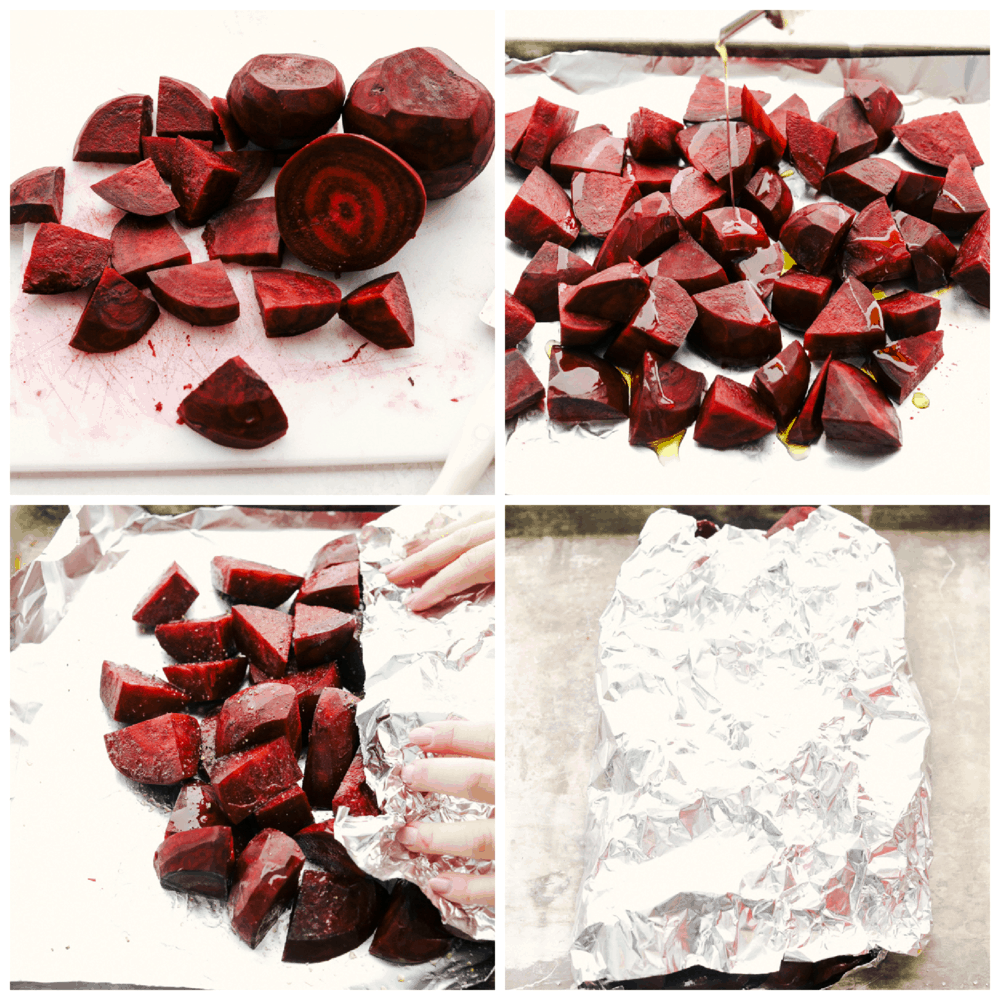 Cutting, and roasting beets.